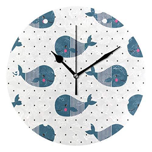 SUNOP Uhr für Kinder, mit Öl Bedruckt, 1 süße Cartoon-Ozean-Tier-Wale mit Tupfen, Wanduhren für Wohnzimmer, Schlafzimmer und Küche, Vintage-Stil (Tiere Süße Ozean)