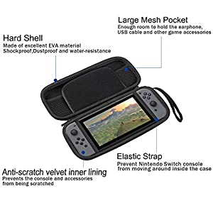 Poschell Carry Case Hard Travel Protection Storage Bag with 8 Game Cartridge Holders for Nintendo Switch