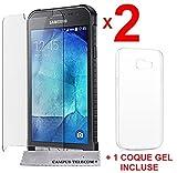 AccessOne Samsung Galaxy X Cover 4 (Xcover 4) SM-G390F 2 Verres Films Vitres de Protection ecran + 1 Coque Silicone xcover 4