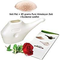 Neti Pot para limpieza nasal con 25 G Pure sal del Himalaya + orientación folleto |