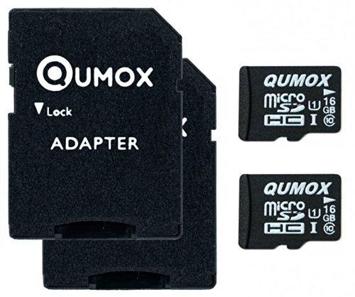 QUMOX 2 x 16GB Micro SD SPEICHERKARTE KLASSE 10 UHS-I 16 GB SPEICHERKARTE HighSpeed Schreibgeschwindigkeit 12MB / S Lesegeschwindigkeit bis 70MB / S