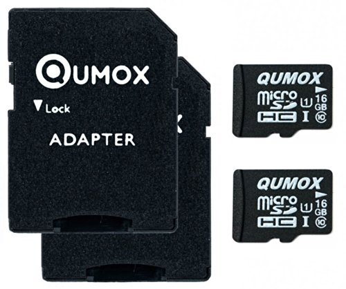 QUMOX 2pcs Pacchetto 16GB MICRO SD MEMORY CARD CLASSE 10 UHS-I da 16 GB HighSpeed Velocità di scrittura 12 MB / s Velocità di lettura fino a 70MB / S