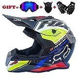 Yedina Youth Motocross Helmet MX Motorcycle ATV Roller voll Helmet Helmet D.O.T Certified Black Goggles Handschuhe Maske (S, M, L, XL),darkblue,S