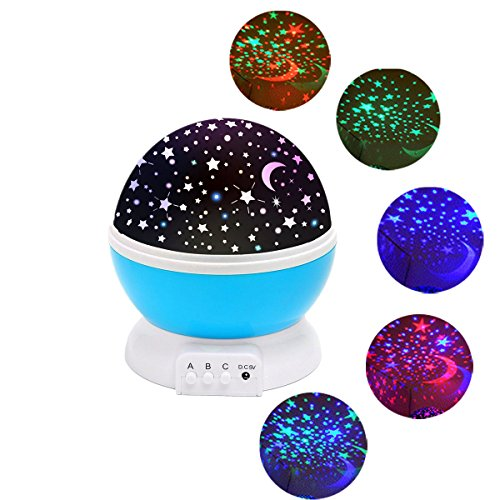 SOLMORE LED Estrella Proyector Noche Ligero 360 La licenciatura puede girar Luz de las estrellas Estrellado Colgar muy alto Proyector Romántico Noche Ligero Iluminación con USB para Dormitorio Cumpleaños Navidad Niños Bebé Azul