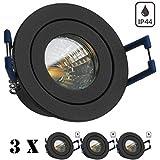 3er IP44 LED Mini Einbaustrahler Set in Anthrazit Grau mit LED MR11 / GU5.3 Strahler von LEDANDO - 2W - 160lm - warmweiss - 60° Abstrahlwinkel - 20W Ersatz - Bad / Dusche - Terrassendach - Wintergarten