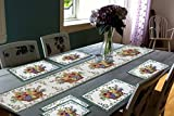 #2: Galaxy Home Decor Dining Table Runner With Six Mats Jacquard Fabric Set of six mats with one runner - Set of 7 Dining Table Runner and Mats Jacquard Linen 7 Piece Mat with Table Runner - 13