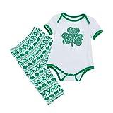 LEXUPE Baby Kleidung Mädchen, St. Patrick Toddler Leaf Stripe Print Strampler Wave Hosen Set Outfit