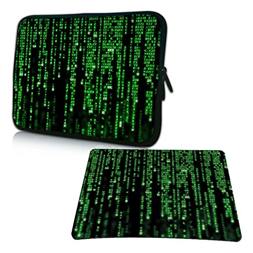 PEDEA Design Schutzhülle Notebook Tasche bis 15,6 Zoll (39,6cm) mit Design Mauspad, Matrix