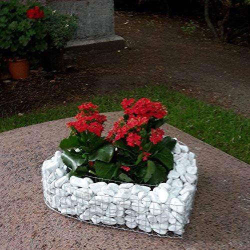 Grabschmuck Herzgitter mit Kies 35,0x35,0x10,0cm Grabherz Pflanzschale Herz Gabione Friedhof Engel Grabengel Pflanzherz Blumentopf Marmorkies