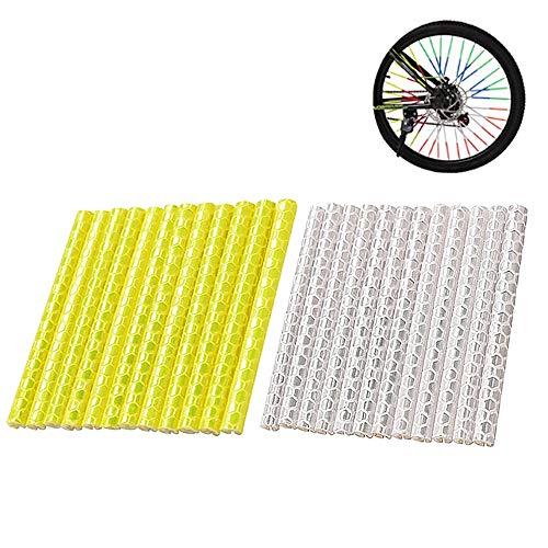 ICYANG 24 Stücke DIY Fahrrad Speichen Reflektierende Tube Clip Nacht Sicherheit Warnung Radfahren Bike Felge Reflektierende Rohr Stick Licht Streifen,Gelb und Silber