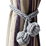 Sumnacon Raffhalter, Strick-Vorhang, aus Baumwolle, naturfarben und einfach, zur Dekoration im Schlafzimmer oder Wohnzimmer, 2 Stück 2 Boules Gris