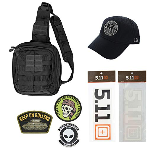 5.11 Kits Rush Moab 6 Military Sling Pack Backpack, Hat, Patches, and Decals Set - Army Sling Pack Tactical Gear - Black Symbol Stealth Hat
