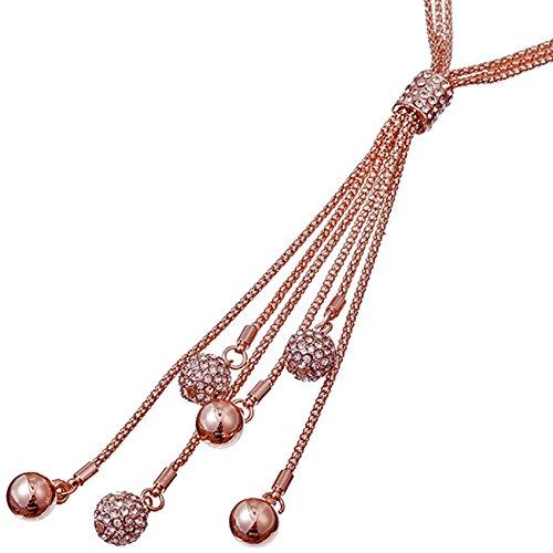 Atemberaubendes Cubic-Zirkonia-Set, 95 cm lange Kugelperlen-Halskette, Rose-gold, für Damen, Kostüm (Gold Kette Halskette Kostüm)