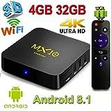 H96 MAX Android 7.1 TV Box 4GB + 32GB/64GB 4K Ultra HD Smart TV Box RK3328 Quad-Core 64bit CPU 2.4G/5G Dual-Band WiFi 100M LAN 3D H.265 Set Top Box con Mando a Distancia
