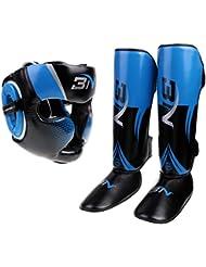MagiDeal Détachable Boxe Casque PU + Plaquettes Gardes à Pieds Jambes Cou-tibias Jambières Protecteur MMA Muay Thai Boxe Combat