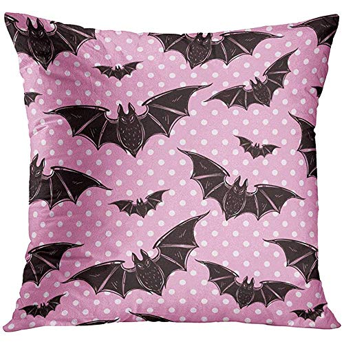 Deglogse Cushion Covers, Throw Pillow Cover Pink Evil Halloween Pattern Bats Holiday Symbols Cute Gothic Style Black Vampire Goth Decorative Pillow Case Home Decor Square es ()