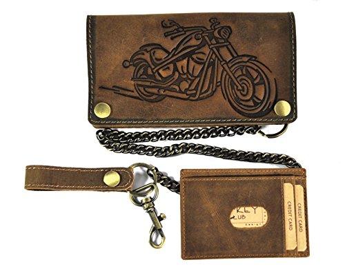 Motorrad Kette Portemonnaies (Biker Geldbörse mit Kette und herausnehmbaren Kreditkartenetui vegetabil gegerbtes Hunterleder Portemonnaie Motorrad)