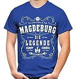 Legende Magdeburg Männer und Herren T-Shirt | Fussball Aufsteiger Ultras Geschenk (XXL, Blau)
