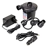HEQUN Elektrische Luftpumpe, Elektropumpe Power Pumpe DC12V/AC230V inkl.mit 3 Luftdüse Kompressor mit Zigarettenanzünder-Schnittstelle aufblasbare Matratze, Kissen, Gästebetten, Boot, Schwimmring