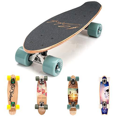 Holz Skateboard Kinder - Mini Cruiser Kickboard - Skateboard mädchen Rollen Board - hohe Qualität Old School Skateboards Holz Deck - Retro Skateboard Jungen - Kinder ab 3 Jahre Mini-Board