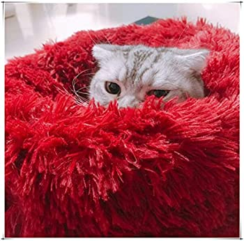 Mjjsk Rond en Peluche pour Animaux Lit Domestique Nest Deep Sleep Pet Matelas épais Chaud Chien Lit Litière pour Chat Convient pour Chiots Chaton Petits Animaux (L, Vin)