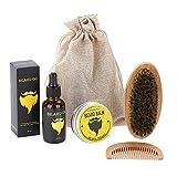 Soins de Barbe Kit de brosse à barbe Outil de soin hydratant pour barbe à barbe...