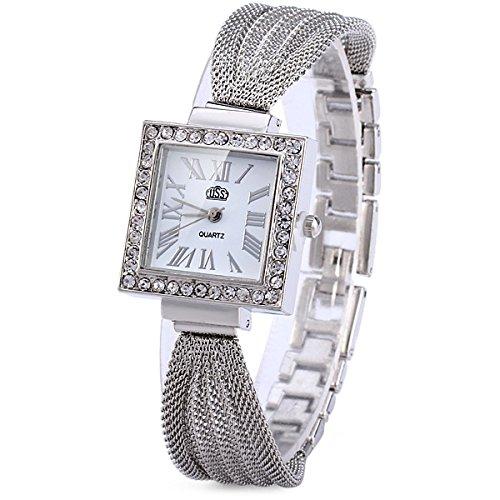 ele ELEOPTION Damen Armbanduhr Design Quarzwerk Uhr mit Strass Dial-Edelstahl-Band für Frauen (Silber(quadratisches Zifferblatt))