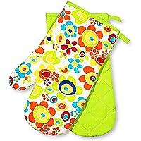 """2 x Backhandschuhe ( = ein Paar ) """" FLOWER POWER """" - zur Auswahl : Topflappen oder Backhandschuhe oder Schürze , wunderschönes farbenfrohes Blumen - Motiv - hochwertig , mit Baumwolle , eine schöne kleine Geschenk - Idee - NEU aus dem KAMACA-SHOP (2 x Backhandschuhe (=1 Paar))"""