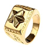 Blisfille Ringe Edelstahl Titan Ringe Männer Gold Gold Bar Punk Dreieck Stern Pentagramm Ringgröße 67 (21.3) Gothic Retro Vintage Wedding Band Ring Für Sohn