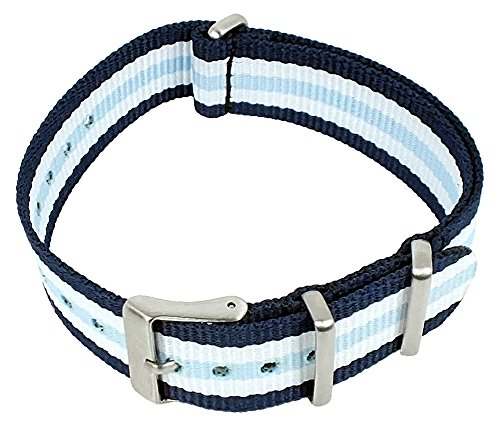 NATO-Band Durchzugsband von Tom Tailor für Modell 5416102 18mm Textilgewebe blau/weiß/blau