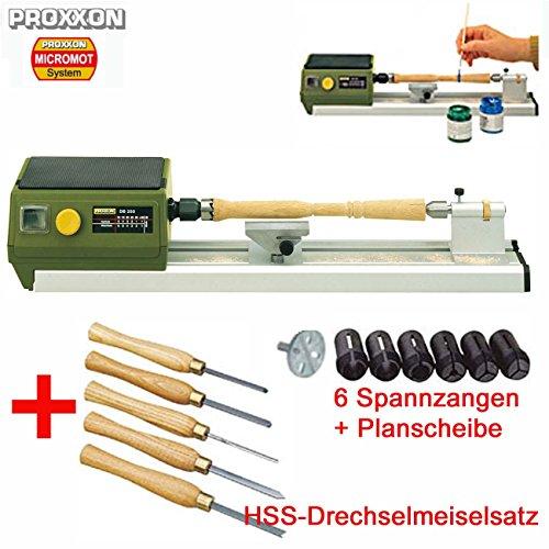 PROXXON MICRO Drechselbank / Drechselmaschine DB 250 – inklusive 5-tlg. HSS-Drechselmeißelsatz, 6 Spannzangen und Planscheibe für größere Werkstücke