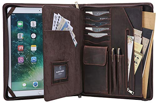 US15 Handgefertigte Vintage Leder Portfolio-Etui Business Dokumenten-Organizer mit Reißverschluss Padfolio für Briefgröße Notizblock/Notebook, Executive Reisetasche for iPad Pro 12.9(2018) braun -