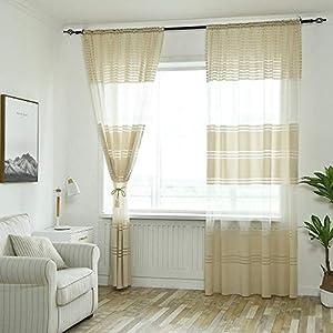 Tonsee Transparent Voile Gardinen Patchwork Streifen Durchsichtig Vorhänge mit Ösen für Wohnzimmer Schals Schlafzimmer…