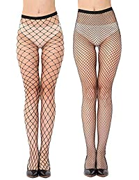 Geeta Laxmi Women's High Waist Lace Fishnet Lingerie Stockings (Black, Free size) - Pack of 2