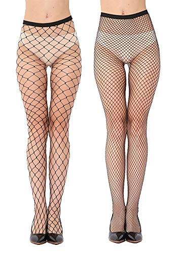 Geeta Laxmi Women\'s High Waist Lace Fishnet Lingerie Stockings (Black, Free size) - Pack of 2