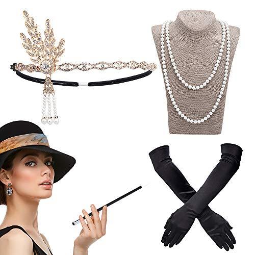 DAYPICKER 1920er Jahre Zubehör Set Flapper Kostüm,20er Jahre große Gatsby Theme Party Flapper Vintage Stirnband, Lange Schwarze Satinhandschuhe, Perlenkette, Lange Zigarettenspitze für Frauen ()