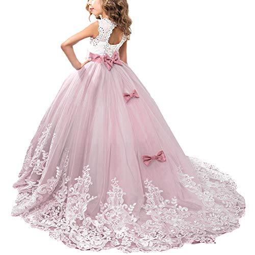 er Spitze Tüll Hochzeit Kleid Jugendweihe Prinzessin Kleider 8-9 Jahre Violett Rose ()