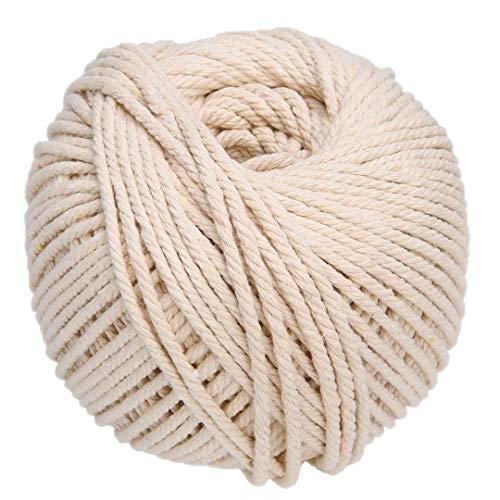 PTPTRATE 4mm x170M Makramee Garn Baumwollgarn Baumwollkordel Baumwollschnur Natur Kordel Schnur Garn für DIY Handwerk Basteln Wand Aufhängung Pflanze Aufhänger (Beige) -