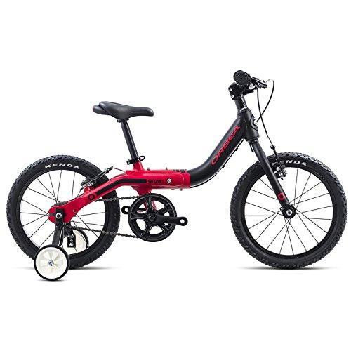 Orbea Grow 1 Kinder Fahrrad 16 Zoll Stütz Rad Aluminium mitwachsend einstellbar, G00216K, Farbe Schwarz Rot
