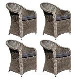 dasmöbelwerk 4er Set Polyrattan Stuhl mit Sitzpolstern Rattan Stuhl Relax Sessel Gartenmöbel Gartenstuhl Panama Grau