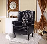 Homcom Antique High Back Chair PU Leather Seat Chesterfield Type Armchair Queen Anne Fireside Chair w/ Cushion (Black, Armchair)