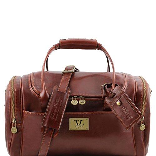 81412814 - TUSCANY LEATHER: TL Voyager - Sac de voyage en cuir avec poches aux côtés, marron