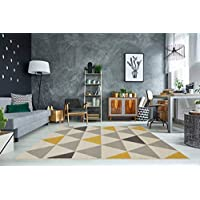 The Rug House Tapis de Salon tradtionnel Milan Triangles Motif arlequin Ocre Jaune Gris Beige 120cm x 170cm