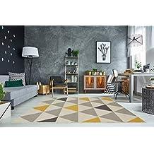 The Rug House Milan Moderner Teppich Mit Harlekin Dreiecksmuster Für Das  Wohnzimmer In Ocker ,