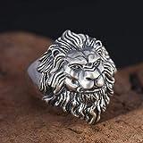 Anillo Ajustable S925 Plata esterlina Personalidad de la Moda Retro Plata tailandesa Cabeza de león Dominante Anillo Regalos para Hombres Joyas para Damas (Color : -, Size : -)