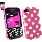 Emartbuy ® Blackberry Q10 Tupfen Gel Skin Cover / Case Pink / Weiß
