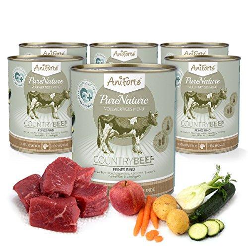 AniForte® PureNature Nassfutter 800g Country Beef Hundefutter- Naturprodukt für Hunde (Feines Rind, 6x800g)