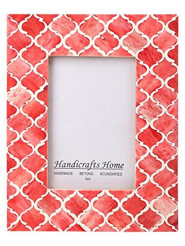 Bilderrahmen maurischen marokkanischen Muster inspiriert handgefertigt Naturals Bone Frames von Kunsthandwerk Home Größe 4X 6& 12,7x 17,8cm, rot, 10 x 15 cm