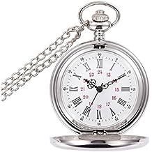 Collar Regalo Del Reloj De Aleación Redonda Del Cuarzo Del Dial De Bolsillo De Plata Antigua Analógica