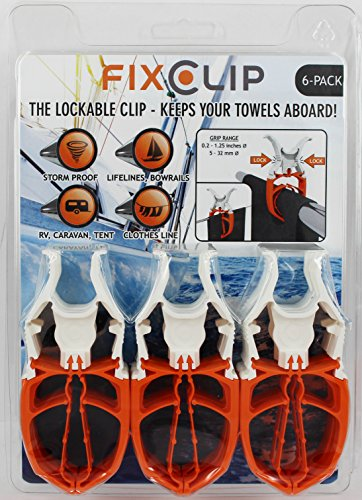 FIXCLIP - The Storm Proof & Lockable Clothespin - Keeps your towels aboard - For Boats - Bowrails - Lifelines - Beach chair - RVs - Caravans tents - Tarps - Covers - Camping - Strollers - 6-PACK -